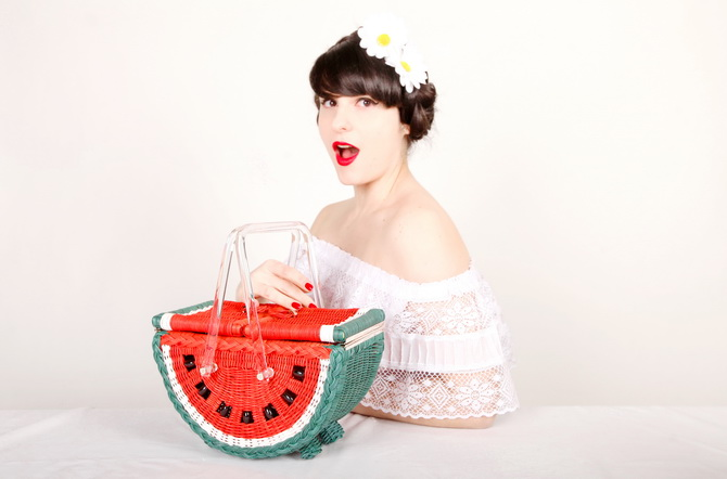 The Cherry Blossom Girl - Charlotte Olympia Watermelon Basket 02