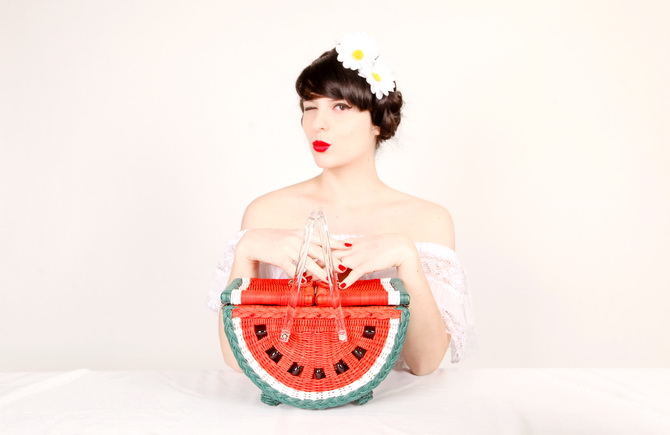 The Cherry Blossom Girl - Charlotte Olympia Watermelon Basket 04