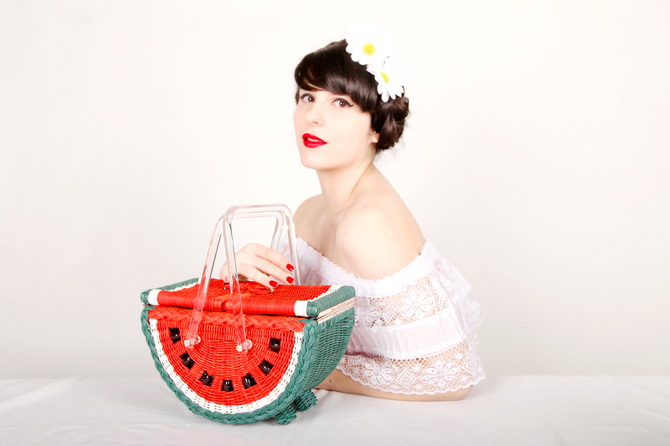The Cherry Blossom Girl - Charlotte Olympia Watermelon Basket 05